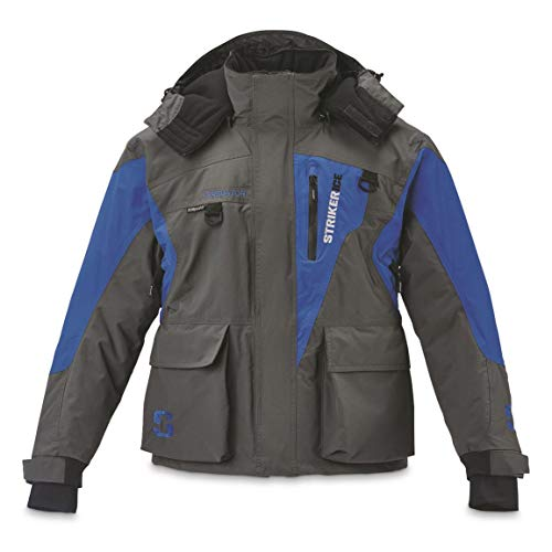 Striker Ice Men's Predator Insulated Waterproof Ice Fishing Jacket with Sureflote, Gray/Blue, L (Predator Gear)