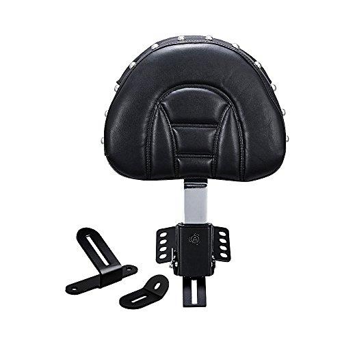 Astra Depot Adjustable Plug-in Driver Rider Rivet Backrest w/Pocket Compatible with 1997-2017 Harley Touring FLH FLT Slotted Seat