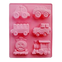 Yunko 6 Cavity Thomas Train and Cute Car Cake Pan Baking Silicone Dessert Chocolate Mold Cookie Mold Pudding Jelly Mold by YunKo