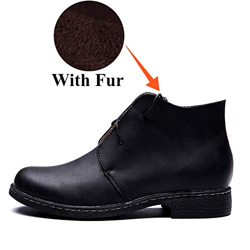 Con Invierno Zapatos Cordones Botas Moda Hombres Cortos Calzado Negocios Para Comodidad Adultos De Fhcgmx Martin Hombre Black With Botines Fur Zq1C8W6