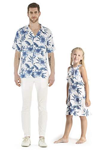 Matching Father Daughter Hawaiian Luau Cruise Outfit Shirt Dress Day Dream Bloom Men L Girl 8