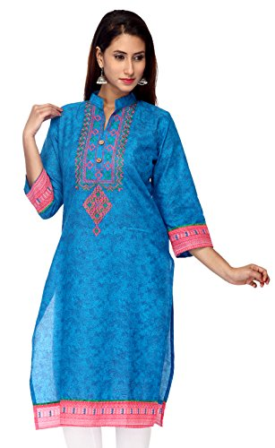 Tystha Casual Embroidered Womens Kurti (Blue Large)