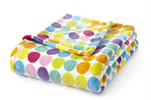 (Fraiche Maison T1111068-MM-B005 Velvet Plush 60x70 Throw Multi Dots, )
