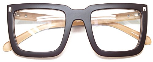 Big Square Horn Rim Eyeglasses Nerd Spectacles Clear Lens Classic Geek Glasses (Brown1830, - Women For Square Eyeglasses