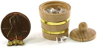 Miniature Dollhouse 1 Black Ginger Jar 2 Piece lid and bottom