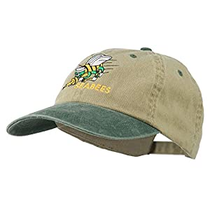 Navy Seabees Symbol Embroidered Dyed Two Tone Cap - Khaki Green