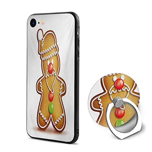(Gingerbread Man iPhone 6/iPhone 6s Cases,Whimsical Cartoon Santa Gingerbread Man with Bonbon Candies Pale Brown Red Green,Mobile Phone Shell Ring Bracket)