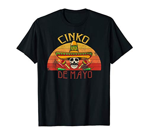 (Happy Cinco De Mayo Peppers skull vintage T-Shirt)