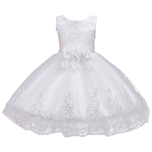 (IBTOM CASTLE Child Girl Ruffles Vintage Embroidered Sequins Flower Wedding Dress Short Trim Layered Christening Baptism Pageant Party Gowns White 18-24 Months)