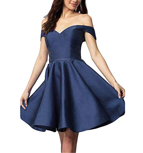 2018 Dresses Party Homecoming Off Satin Dress CCBubble Short Blue Homecoming Shoulder Navy tRwf8