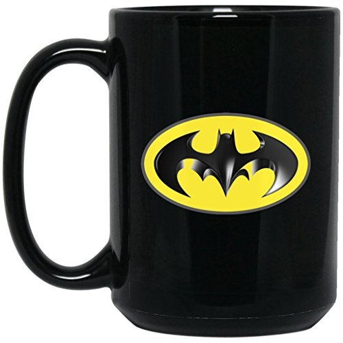 Batman Coffee Mug | Batman Mug 3D Logo | 15 oz Black Ceramic Mug Cup Great For Hot Chocolate & Tea | Bruce Wayne Alfred Robin Justice League | Perfect Unique Gift For Any Batman Fan