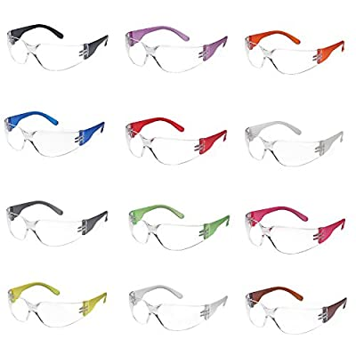 TRUST OPTICS 12 Pack Scratch, Impact, and Ballistic Resistant Safety Protective Goggles with Clear Lenses in Assorted Colors