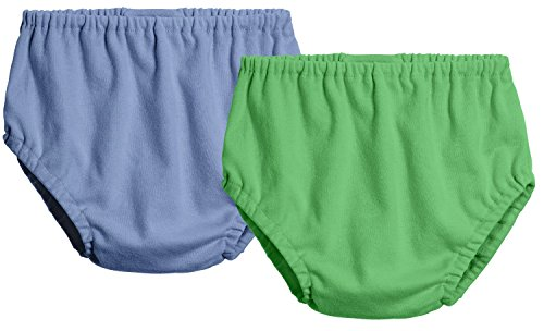 City Threads 2-Pack Baby Girls' and Baby Boys' Unisex Diaper Covers Bloomers Soft Cotton, Denim Blue/Elf, 6/9 m (Bloomers Denim For Infant)