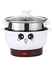 Electric Skillets, FanCheng 4-in-1 Multifunction Electric Cooker Skillet for Cooking Rice Soup Hotpot Steam Eggs Frying Fried Noodles Non-Stick Stainless Steel Electric Grill Pot with Lid (2.3L, with Steamer)
