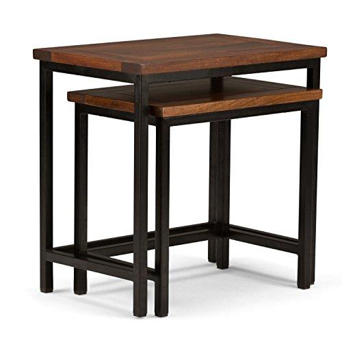 Simpli Home Skyler Solid Mango Wood & Metal 2 Piece Nesting Side Table, Dark Cognac Brown For Sale