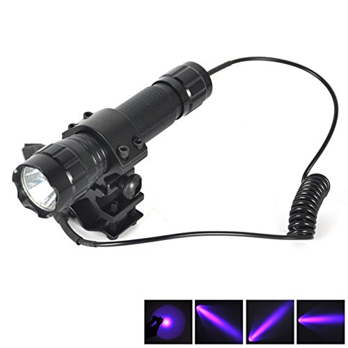 1 Set (1 Pc) Profound Fashionable 600 LM UV LED Flashlights Coated Glass Lens Police Lights Tactical Lamp Rifle Gun Rail SWAT Torch Colors Black with Mount and Remote - Glasses Fashionable 2014