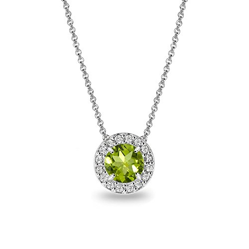 (Sterling Silver Peridot & White Topaz Round Halo Slide Necklace)