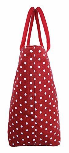 Beach Large Holiday Denim Polka Women Fully Black Tote Red Canvas Bag Lined Bag Shoulder Lightweight Shopper Ladies Dot wPXfq4x5