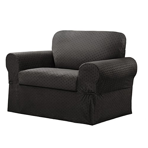 Maytex Conrad 2-Piece Chair Furniture Cover / Slipcover, Charcoal