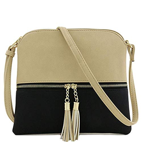 Goddessvan Women Leather Tassel Panelled Crossbody Bag Hit Color Shoulder Bags Messenger Bag