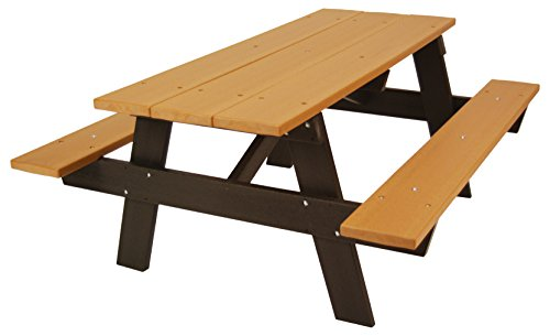 Frog Furnishings A Frame Picnic Table, 6', Brown (Recycled Benches Plastic Picnic)