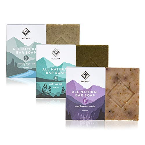 Botanik Natural Organic Bar Soap - Handmade Soap Bar Multi Pack - Naturally Moisturizing - 3 Bars, 4oz. each