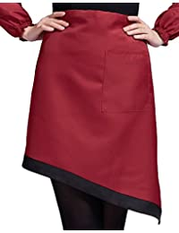 Want Sealike Simplicity Contrast Color Polyester Waist Half Apron with Pockets for Women Girls with Stylus Red compare