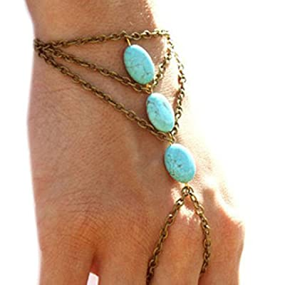 Top Susenstone Multilayer Bronze Turquoise Bracelet, Finger Ring ,Bangle Slave Chain for cheap