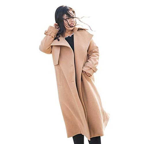 Casual Unica Dimensione Fuweiencore Size Lana Color E Autunno Cammello Taglia Plus Sciolto colore Cammello Panna Soprabito In Trench Inverno Donna rXUwqXa