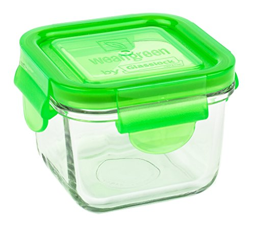 Wean Green Glass Food Storage Containers, Snack Cube 7 ounces, Pea