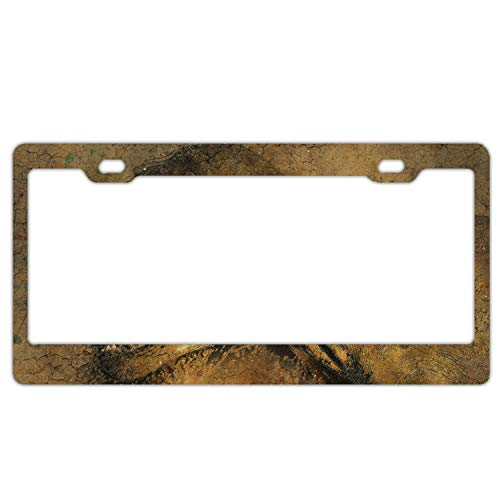 Elvira Jasper Antique Dinosaur License Plate Frame Slim Alumina 2 Holes ()
