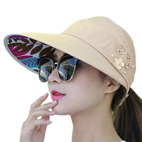 - cici store Women Summer Sunshade Ponytail Open Top Hat,Wide Brim Visor Hat Foldable Adjustable Fishing Beach Cap(Beige)