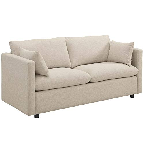 Modway Activate Contemporary Modern Fabric Upholstered Apartment Sofa Couch In Beige