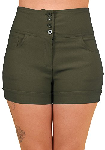 Sidecca Retro 4 Button High Waist Short (Large, Olive)