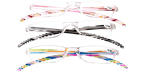 SOOLALA 3-Pair Value Pack Lightweight Striped Integrated PC Magnifying Reading Glasses +2.5D