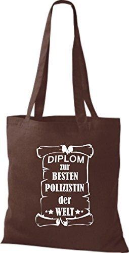Shirtstown Stoffbeutel Diplom zur besten Polizistin der Welt Braun