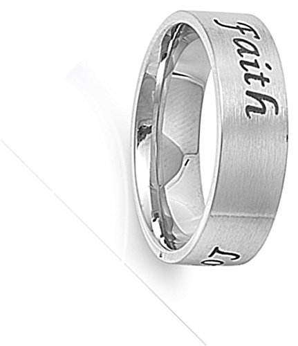 Stainless Steel Faith Love Hope Band Purity Promise Ring Designer Size 7 (STL40044-7)