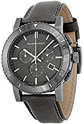 Burberry Chronograph Grey Dial Grey Leather Mens Watch BU9384