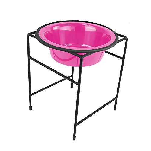 (Platinum Pets Single Diner Feeder with Stainless Steel Dog Bowl, 3.5 cup/28 oz, Bubble Gum Pink)
