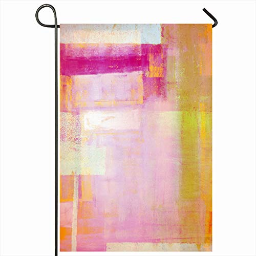 Ahawoso Seasonal Garden Flag 12x18 Inches Pink Yellow Abstract Painting Magenta Artistic Bright Color Contemporary Graphic Design Home Decorative Outdoor Double Sided House Yard Sign