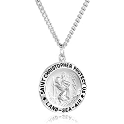 """Men's Sterling Silver Round Saint Christopher Medal Pendant with""""Land, Sea, Air"""" Inscription with Stainless Steel Chain, 24"""""""