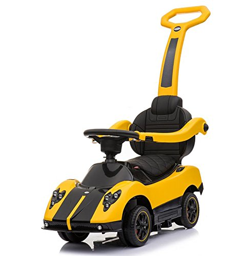 Licensed Pagani Multi Function 6V Kid Drive-able Ride on Stroller Push Car (Yellow) by Four Tone USA