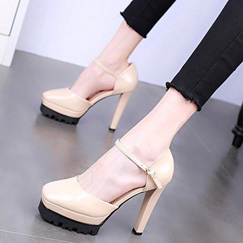 KPHY-En Verano 12Cm Super High Heels Impermeable Cuadros Gruesos Tacones Zapatos De Mujer Sexy Una Palabra Hebilla Retro Solo Los Zapatos. Beige