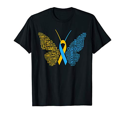 Awareness Syndrome Ribbon Down - Down Syndrome Awareness Butterfly T-Shirt Support Gift Shirt