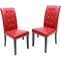 Roundhill Furniture Solid Wood Leatherette Padded Parson Stitches Design Chair, Red, Set of 2