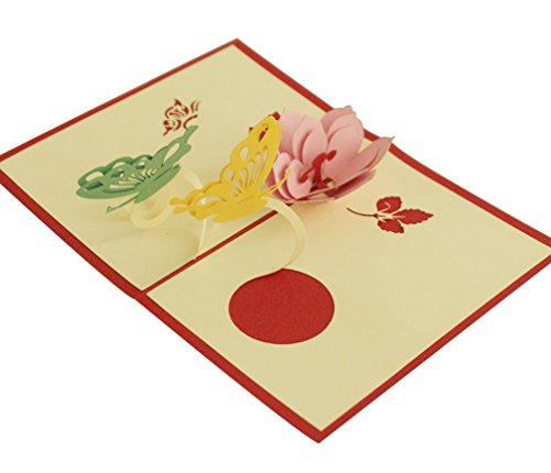 Butterfly Peach Flower Pop up Card Paper Craft for Wife Husband Kids Friend Laser Cut Hand-Craft Happy Birthday Graduation Greeting Cards Gift, 3.93 X 5.9inches