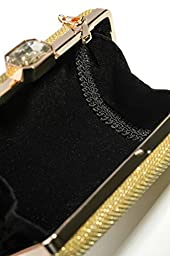 Women Clutch Purse Wallet Hard Case Glitter Evening Bag Handbag With Chain Strap (gold)