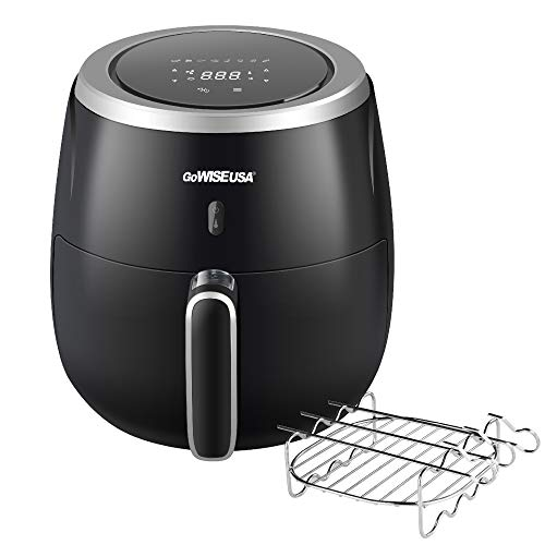 GoWISE USA 5.3-Quart Air Fryer with Accessories, 10 Piece, 8 Cooking Presets + 50 Recipes (Black)