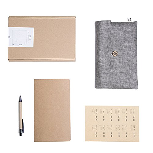 Travel Journal Kit (GonLee 5 Pcs Portable Travellers Notebook Set Travel Journal Kit Daily Planners - Linen Notepad Cover Bag, Blank Notepad, Calendar Stickers and Label Tag Stickers, Brown Craft Paper Pen with Gift Box)