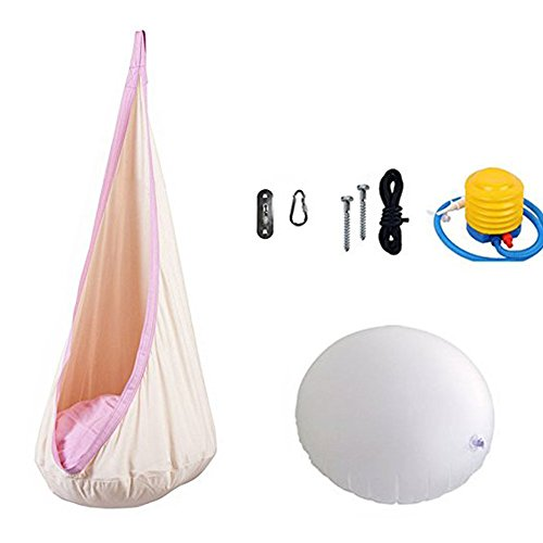 BingCW Child Kids Pod Swing Chair,Portable Nook Tent,Hanging Seat Hammock Chair for Indoor and Outdoor Use, 100% Cotton. (White)